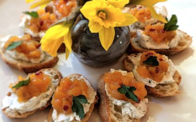 Ricotta Crostini with Quick Apricot Chutney